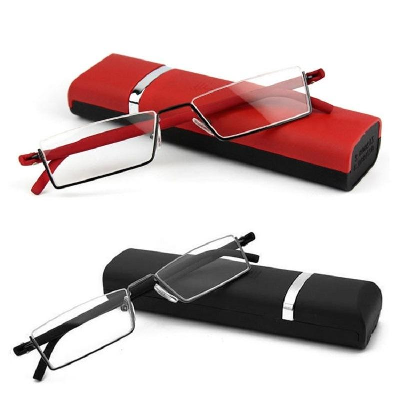 Astuccio per occhiali presbiopia 2021GLAUSA occhiali da lettura TR90 acciaio inossidabile Mezza cornice antiriflesso Unisex Donna ottico Specchio uomini