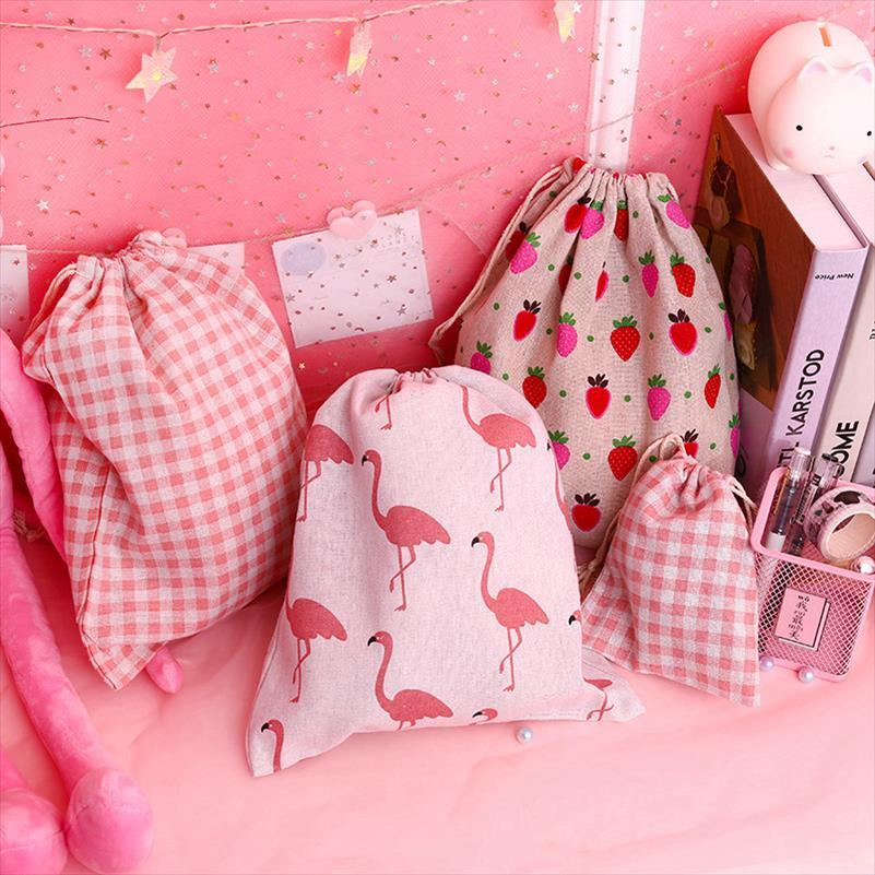 Voyage Femmes Flamingo Make Cosmétique Animal Wash Drawstring Up Organisateur Étui Maquillage Maquillage Sac de toilette Beauty Cartoon Pouch HLFGO