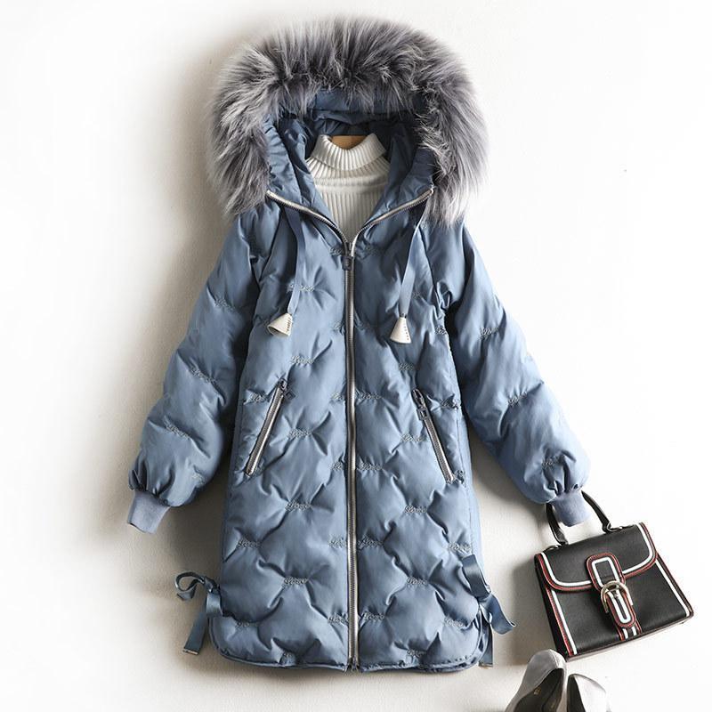 5XL feminimo de inverno invierno de las mujeres vestido de la nueva ropa de gran tamaño más algodón mitad de la longitud 200 kg chaqueta femenina delgada 8629 parkas 201023