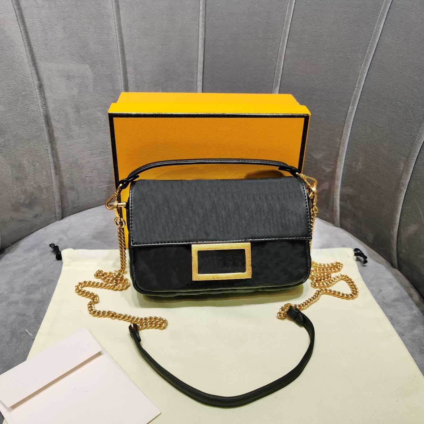Mesdames sac fourre tout mini-pochette baguette noir f lettre en cuir véritable chian sac de gaufrage épaule sacs Crossbody 7a haut de gamme