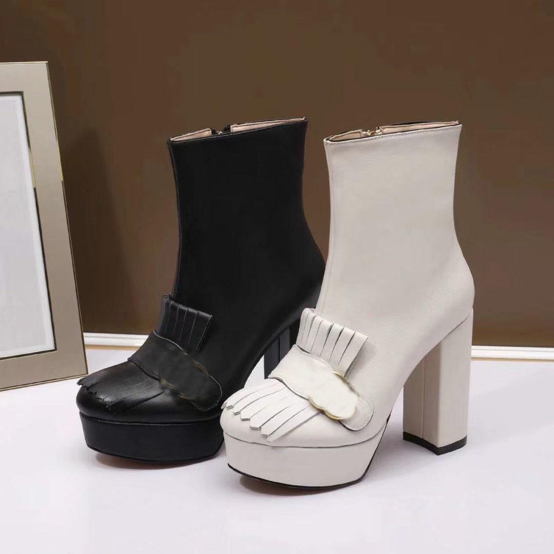 2020 Chaud Nouveau Designer Bottes En Cuir Pour Femmes Femmes Filles Fashion Talons Chunky Botter Haute Heel Half Bottes Lady Casual Dîner Taille 40 # G9