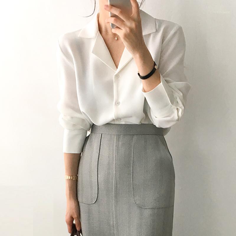 2020 Camicie da donna a maniche lunghe Camicie da donna Casual Top e Bluses Solid Bianco Chiffon Blusa Camicia ufficio Blusas Mujer de Moda Clothe1