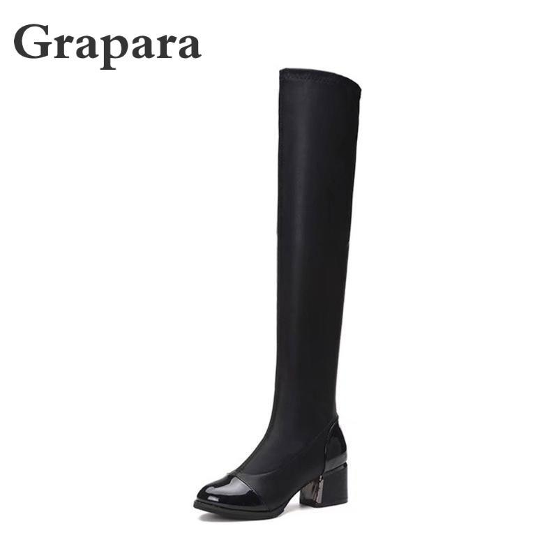 Boots 2021 Winter Women Shoes Woman Leather Square High Heels Over Knee Snow Solid Slip On Thigh Grapara