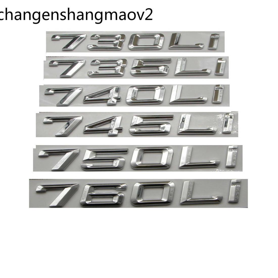 Chrome Silver Number Letters Car Trunk Badge Emblem Emblemas para BMW 7 Series 745i 740i 750i 730li 735li 740li 750li 745li 760li
