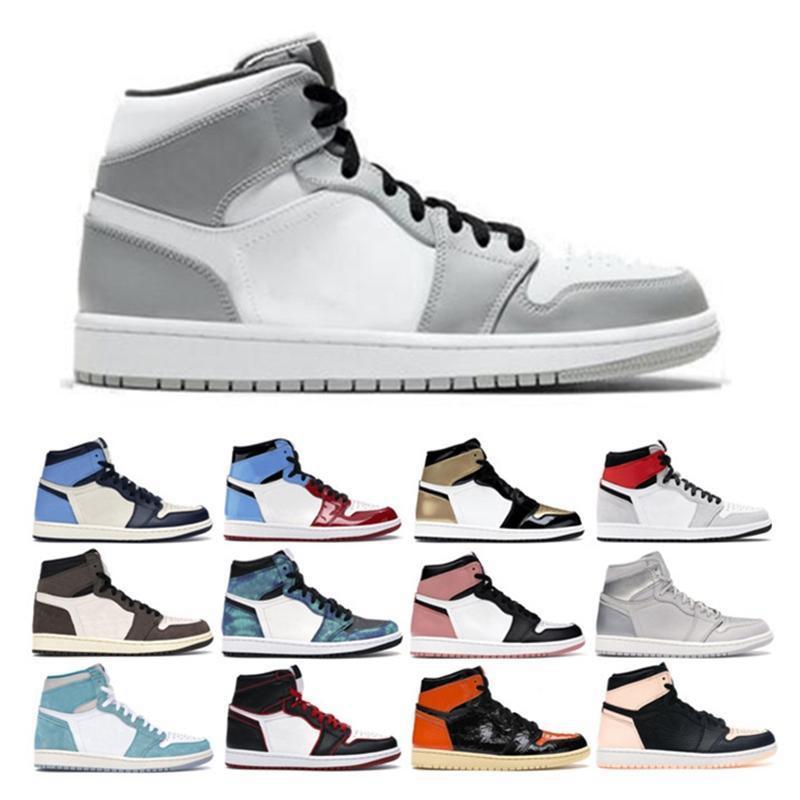 망 농구 신발 1s 새로운 높은 OG 흑요석 로얄 발가락 검은 백색 녹 녹 핑크 UNC 넥타이 염료 시카고 1 밝은 회색 스포츠 스니커즈