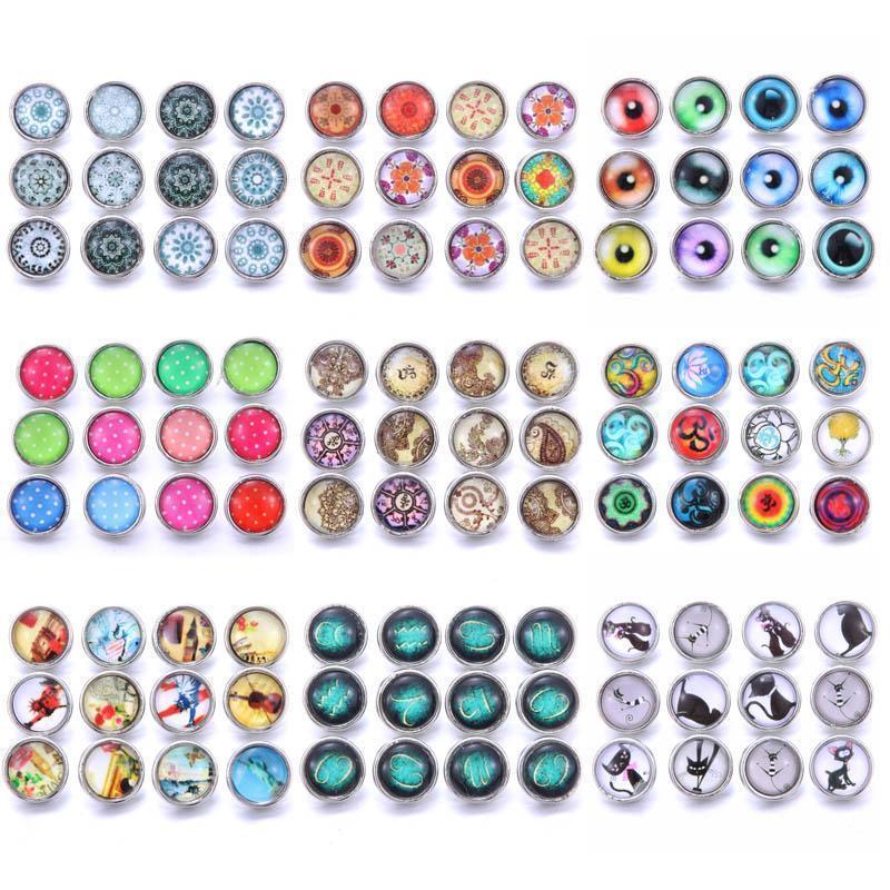 10pcs Lotto Style Style Resina 12mm Pulsante Snap Jewelry Fit Braccialetto Braccialetto Orecchini Collana 12mm Pulsanti Snap per il pulsante Gioielli H Jlleqg