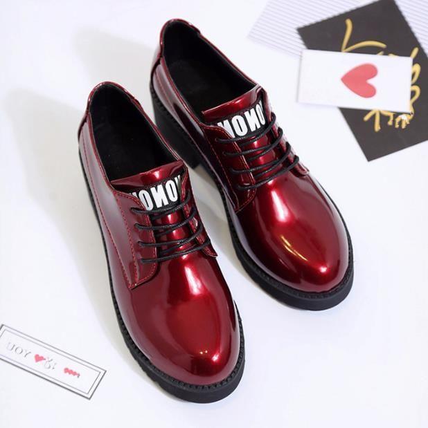 Корейская версия плоской британской малой обуви обувь одного Весна и осень нового моды низкого каблук толстого каблук круглых головы шнурки 2020 брига