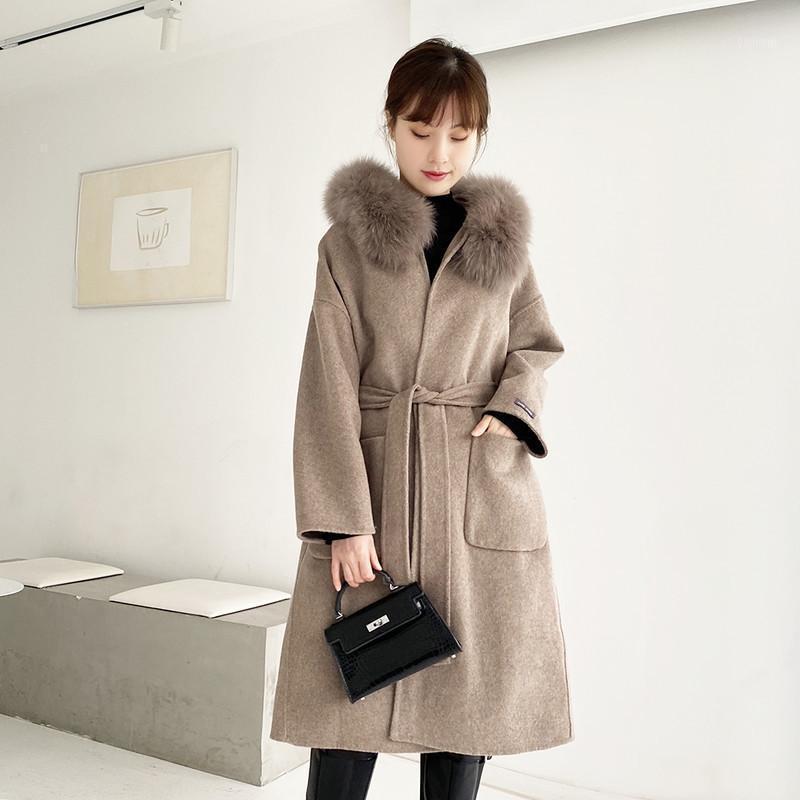 Женская шерстяная смесь бутик осенью и зимой 2021 супер большой воротник с двойным лицом кашемировые пальто ткань Средние длина пальто1