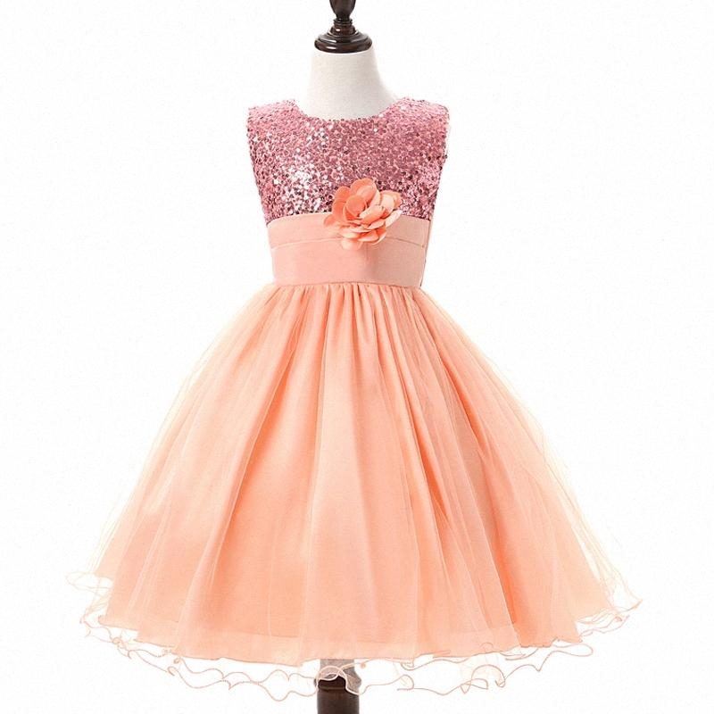 Ragazze di estate vestiti dal fiore principessa abiti con lustrini maglie delle neonate dei vestiti del bambino Vestiti dei bambini del partito di usura 3-12Y e41P #