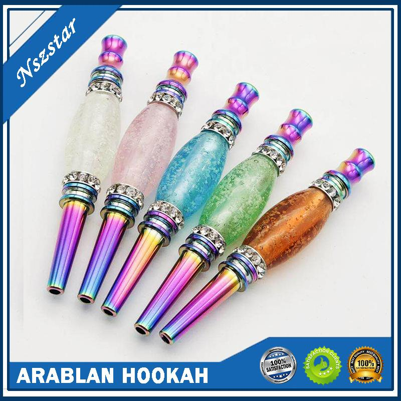 Staccabile Luminoso Hookah Bocchino Cazzo del tubo del fumo Testa arabo Shisha Rainbow Metallo Drip Drip Tip Night Blowing Connector Accessori