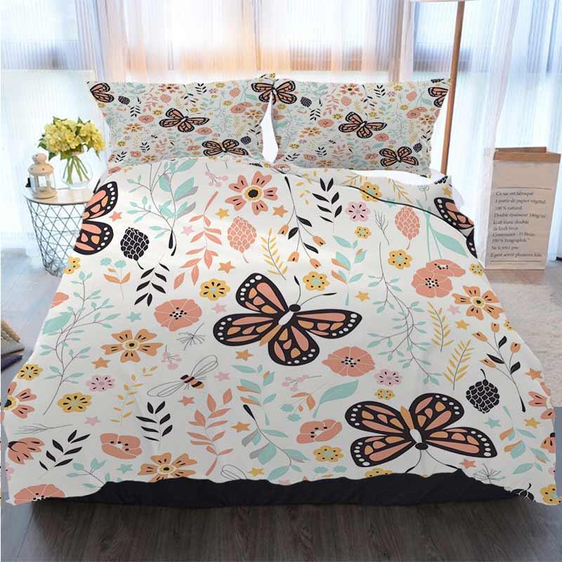 Natal Halloween Ação de Graças 3 peça edredon cobrir Define Seamless com conjuntos florais Quilt Bedding Consolador de cama