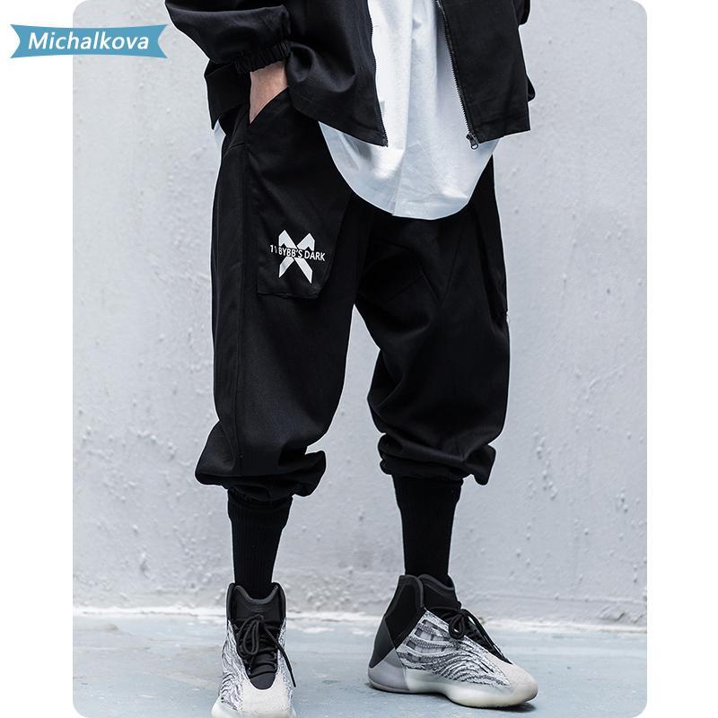 Ropa para hombres Multi Bolsillos Carta Pantalones de carga Harajuku Hip Hop Pantalones Casuales Streetwear Joggers Hombre Sweypants Michalkova 201118