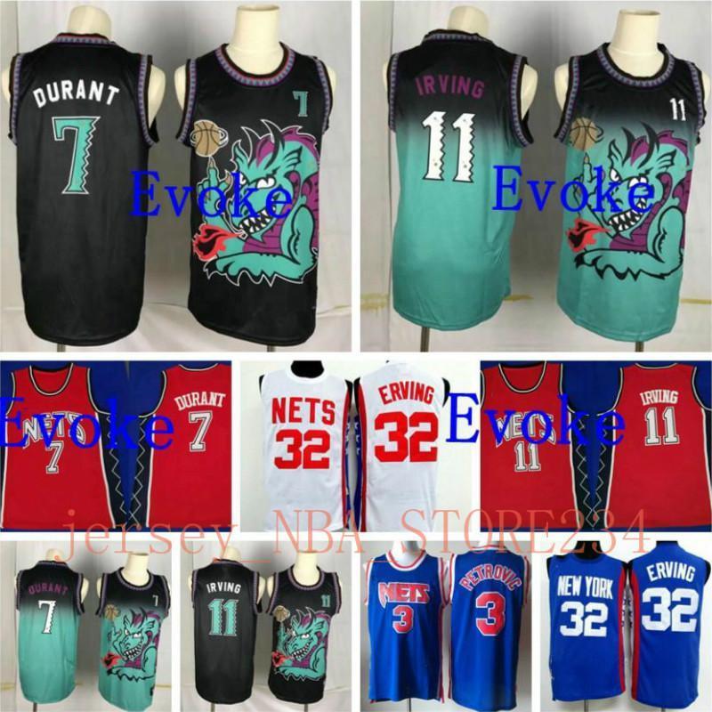 NCAA 2020 Herren Vintage 11 Kyrie Irving Retro BrooklynNETS.Jersey 7 Kevin Durant NCAA 32 Julius Erving 3 Alex Petrovic Basketball JE