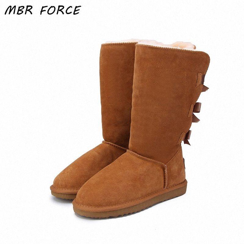 MBR FORCE 2018 Мода Женщины Длинные сапоги из натуральной кожи коровы Снег сапоги Bowknot Снег Теплая зима Высокие США 3 13 Fringe Boots Загрузочный носки F jtBo #