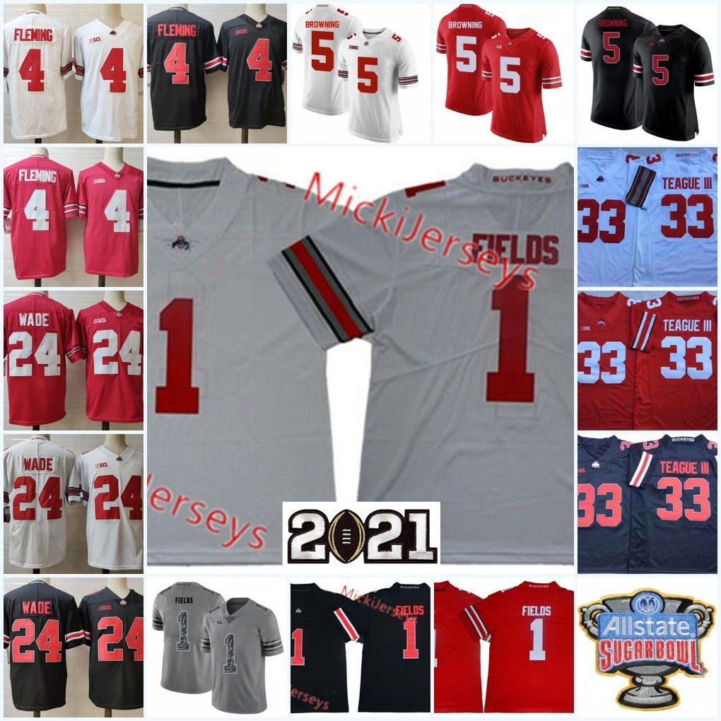 Erkek Justin Fields Ohio State Buckeyes Jersey # 33 Master Teague III Julian Fleming Shaun Wade # 5 Baron Browning Ohio State Futbol Jersey