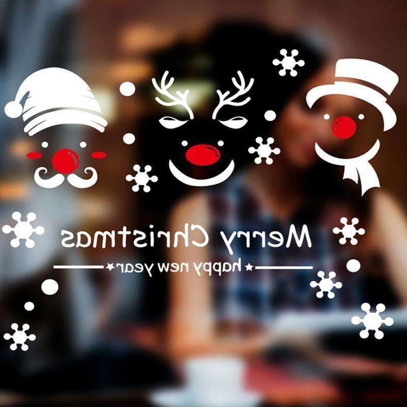 Happy 1шт С Рождеством Новый год Снеговик Deer Снежинка стикер стены Home витринах наклейки Переводные картинки Рождество Декор стены bbyHXp