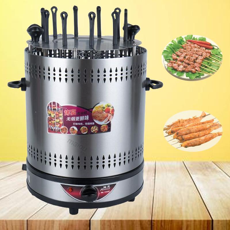 Elektrikli Fırın Ev Dumansız Izgara Otomatik Dönen Barbekü Şiş Izgara Kebap Makinesi 220 V Mutton BARBEKÜ Şişme Makinesi