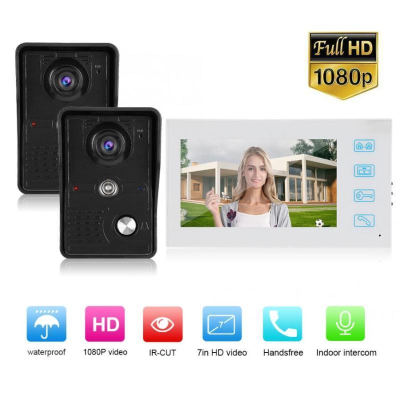 Sistema de Entrada 7in 2V1 Wired Vídeo Doorbell com 1080P Wired Camera Noite 100-240V Visible Doorbell