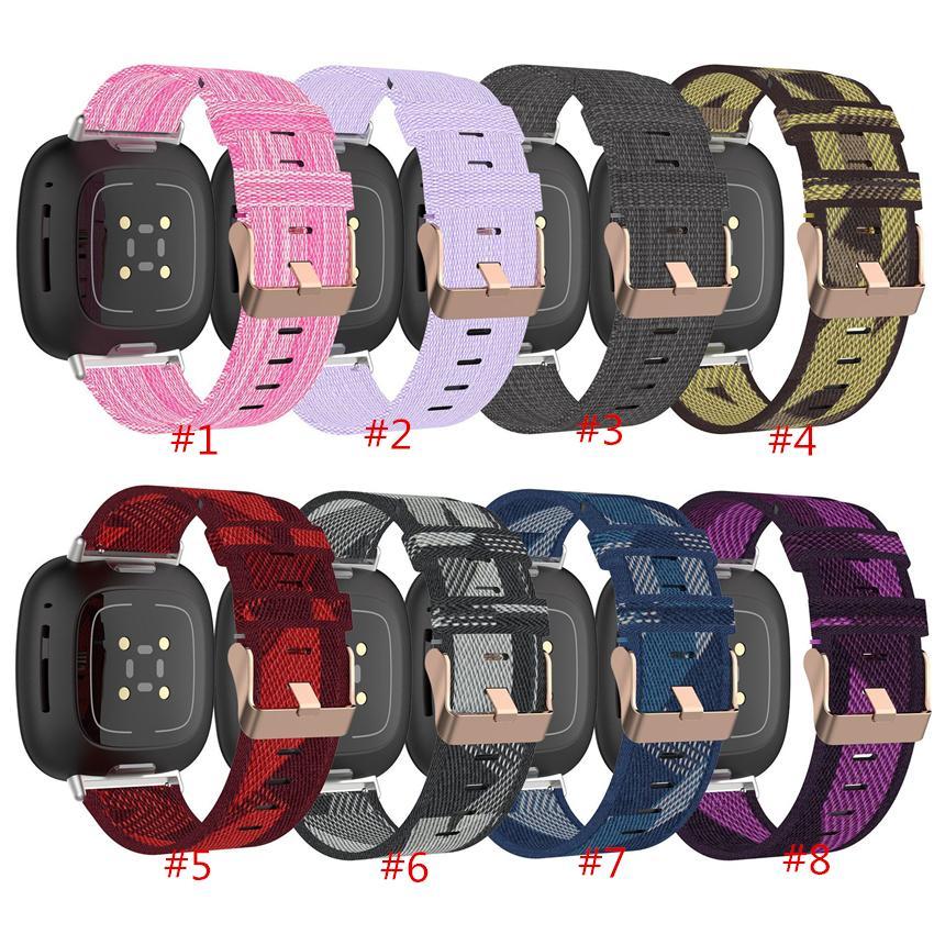 새로운 교체 다채로운 나일론 스트랩 팔찌의 경우는 핏 비트 감지 밴드 액세서리에 대한 Versa3 반대로 3 시계 밴드 손목 스마트 손목 시계를 핏 비트