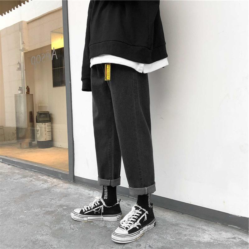 2020 мужские корейские Fashoins мешковатый гарем синий старинные прямые брюки хараджуку джинсы ремень высокое качество джинсовая одежда