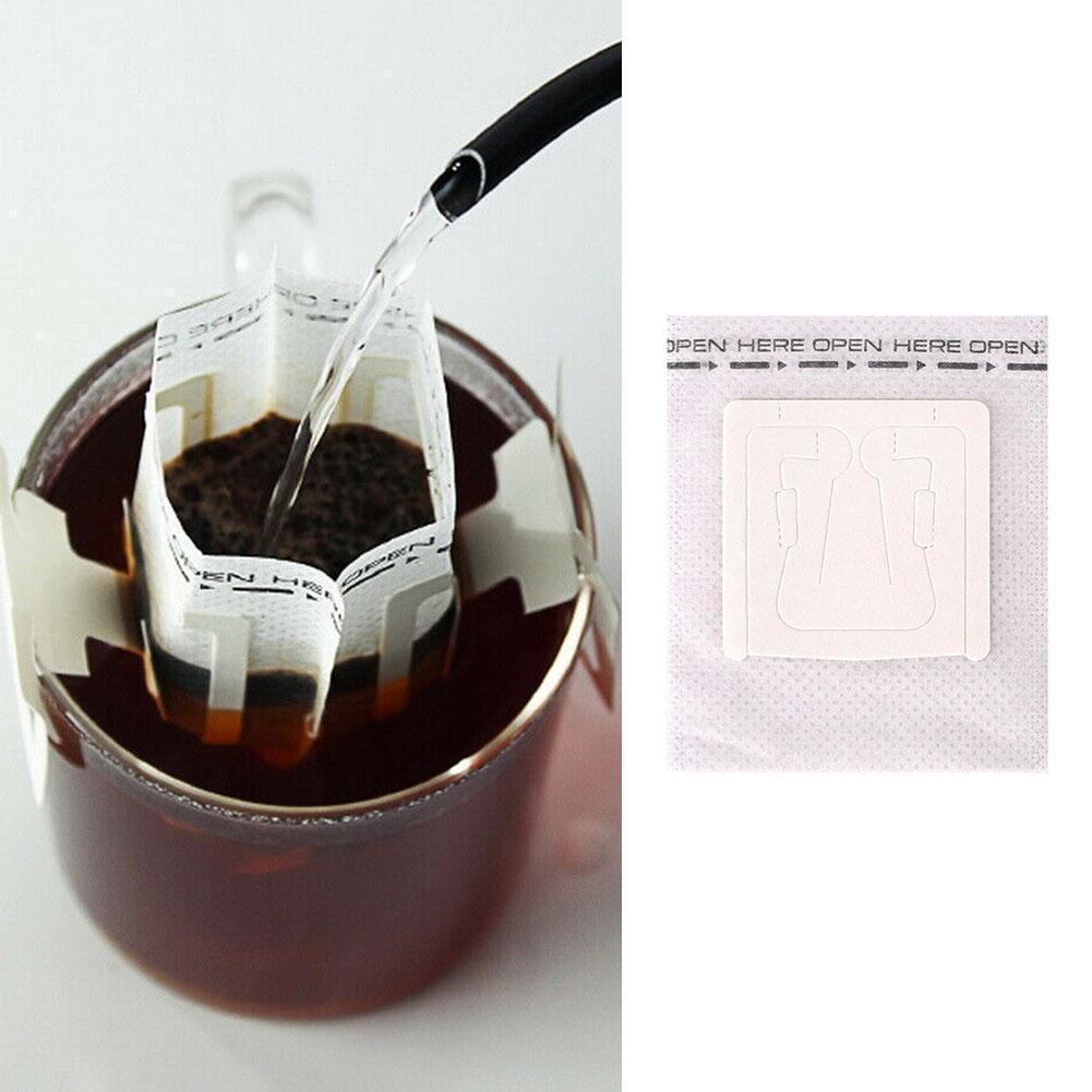 50 pcs / pacote de fliter descartável sacos portáteis Papel de orelha para espresso filtros Eco-amigo saco de estilo café P9V9 Q0109