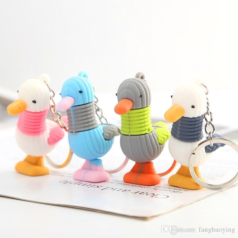 БЕСПЛАТНАЯ ДОСТАВКА ПО DHL 100шт / серия 2020 Новый Симпатичные Силиконовые Дак Брелки Красочные Duck Keyrings для девочек Подарки