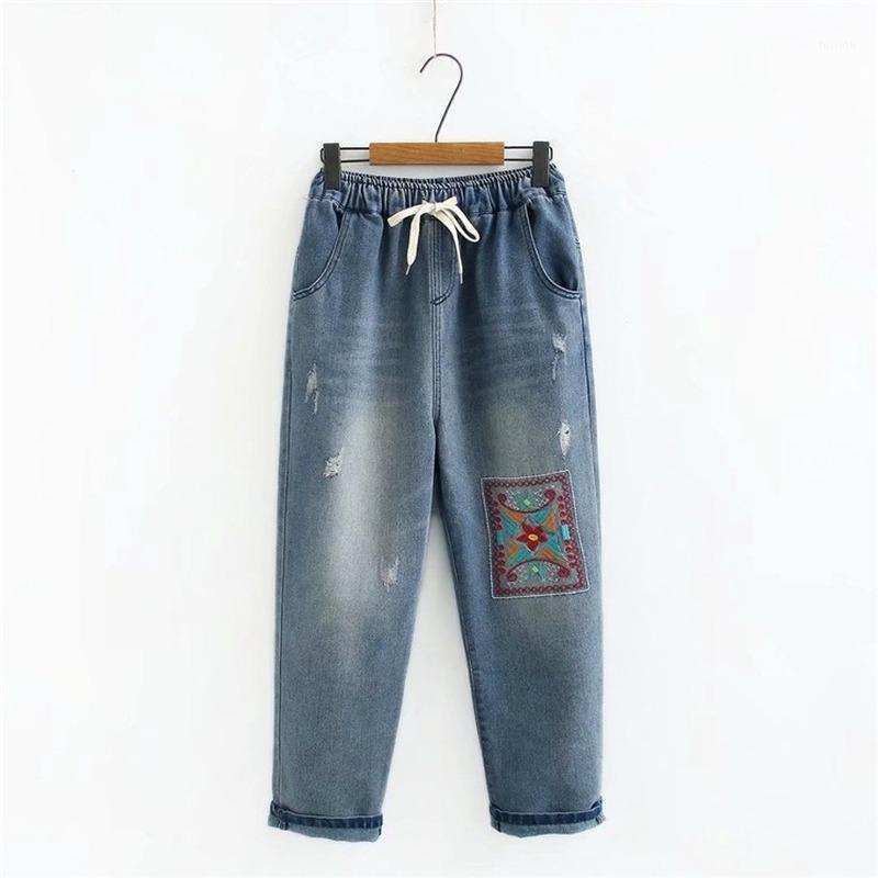 Женские джинсы плюс размер 2XL-5XL женская упругая талия повседневные вышитые прямые негабаритные джинсовые штаны1