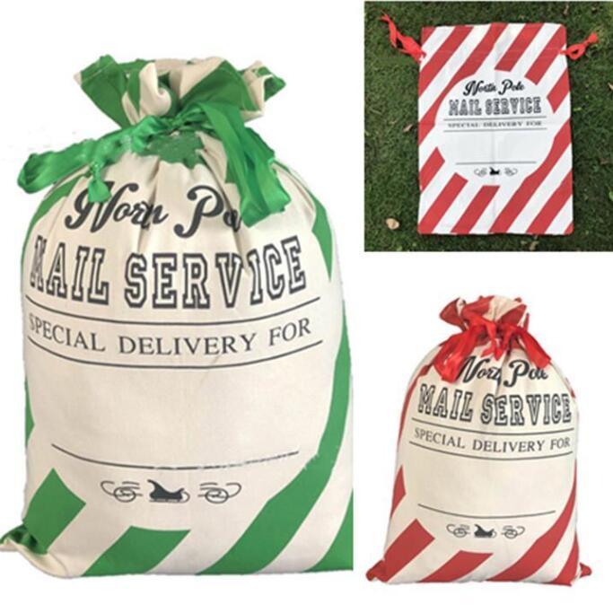 Navidad Bolsas rayado rojo saco Bolsas Saco de Santa con asas de bolsas de almacenamiento de la bolsa lienzo caramelo xams Canva regalo de Navidad Decoración LSK1488