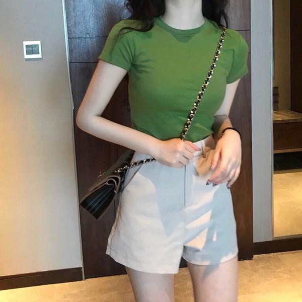 cotton 2020 nuova maglietta intelligente per le donne slim fit super-fuoco manica corta donne di burro stretto e alto dello studente verde Top Fruit frutta giovane j