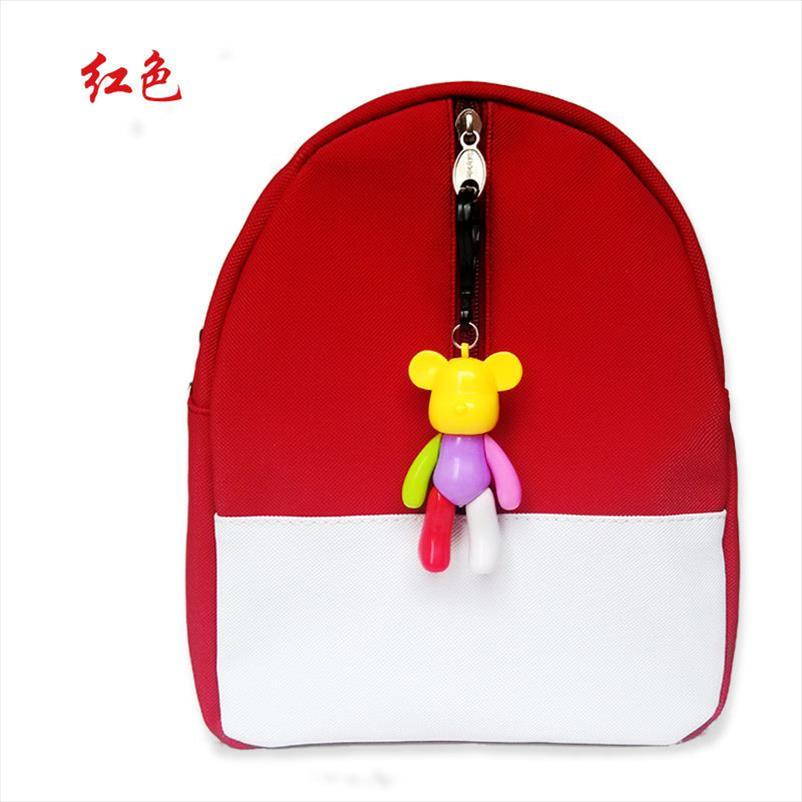 Koreanische Version Süßigkeiten Farbe Rucksack Kinder Babytasche niedlichen Tier Bär Reißverschluss Kinder PU-Schultasche für Kindergartenjungenmädchen Geschenk
