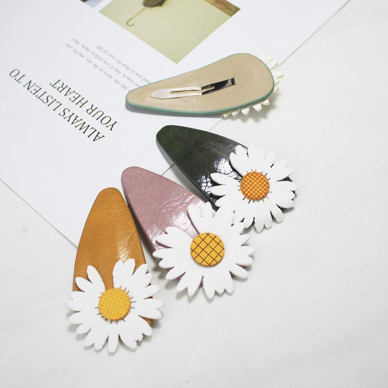 Lystrfac Daisy Cuero Clip de pelo Mujeres Simple Fresh Frestant Wild Girl Horquillero Femenino Femenino Cabello lindo Accesorios