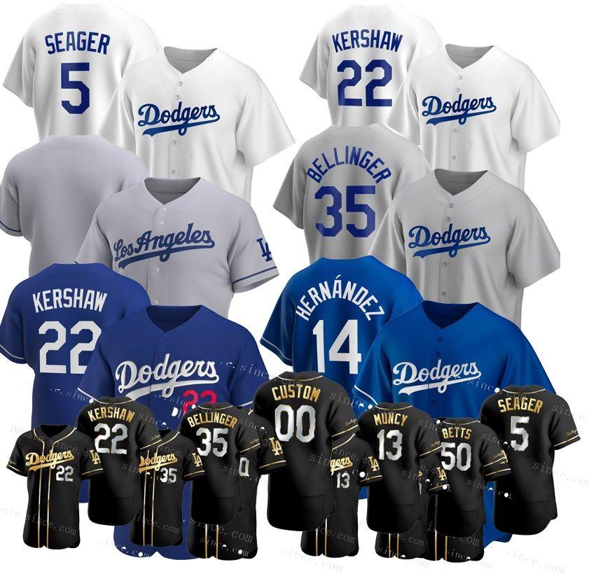 50 Mookie Betts personalizado Dodgers Baseball Jerseys Cody Bellinger 22 Clayton Kershaw Justin Turner Enrique Hernandez Mike Piazza Seager