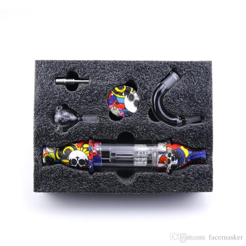 Sıcak Cam Nektar Toplayıcı Premium Tütün Çanta Seti Balmumu Konteyner Silikon Bong Titanyum Tırnak Depolama Kavanoz Metal Dabber Sigara Boru