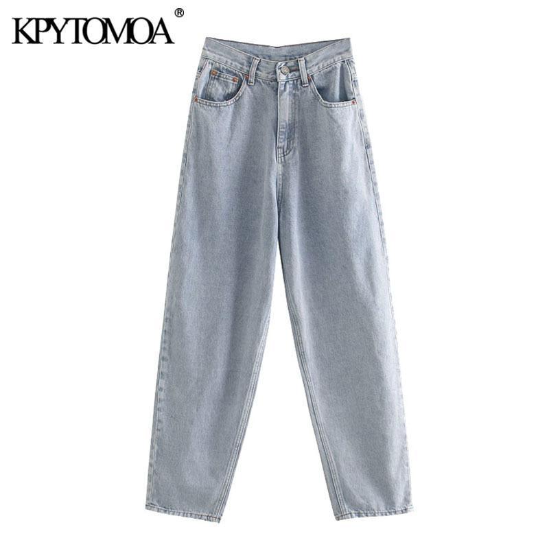 KPYTOMOA Kadınlar 2020 Şık Moda Yıpranmış Trim Denim Harm Pantolon Cepler Vintage Yüksek Bel Fermuar Fly Bayan Kot Pantalones A1112