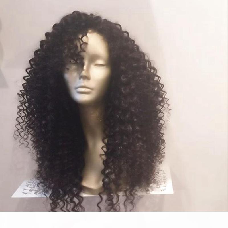 Glueless piena del merletto dei capelli umani parrucche brasiliani del Virgin Capelli ricci parrucca anteriore del merletto Pre pizzico naturale della linea sottile parrucche per le donne nere