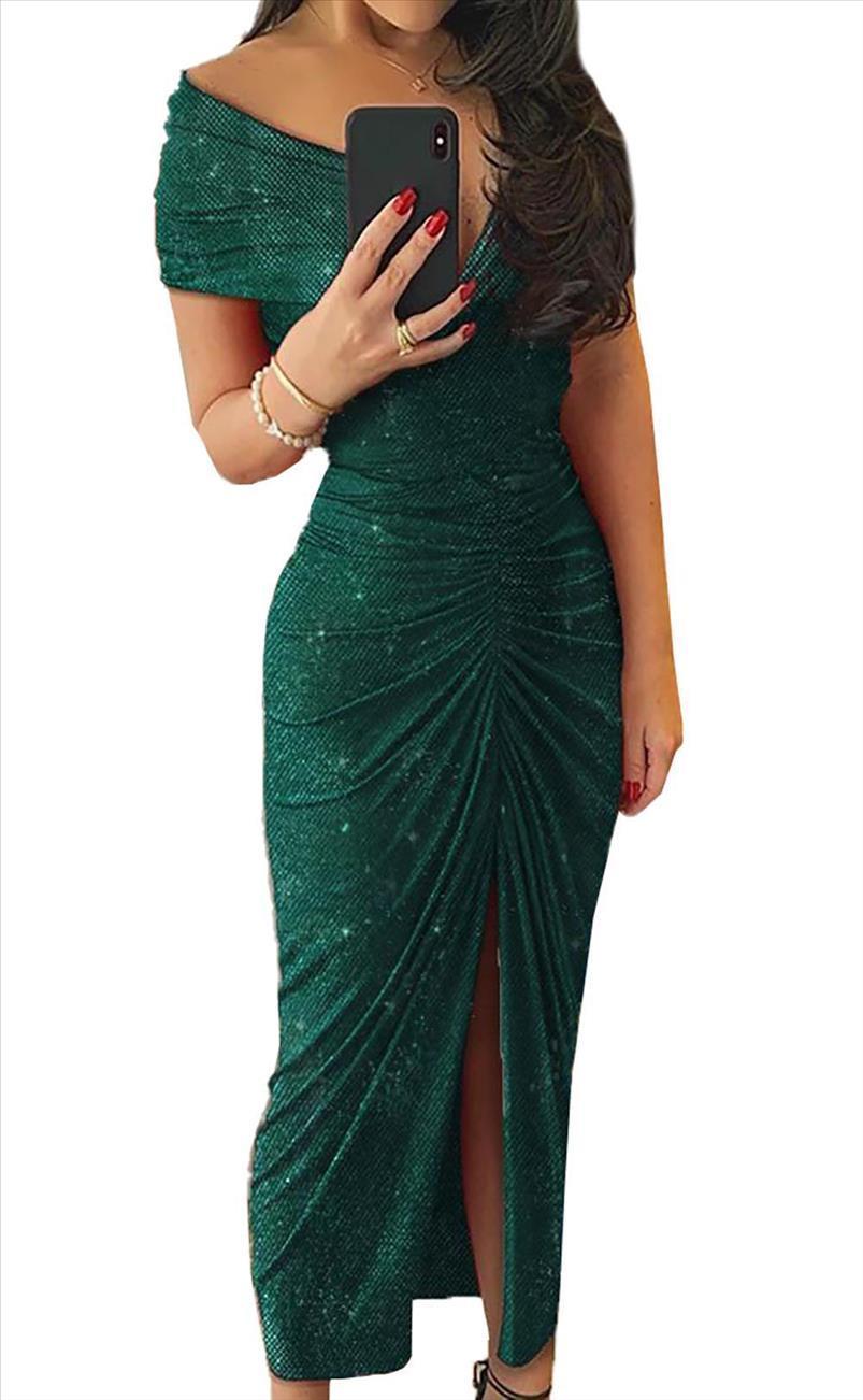 Grüner schwarzer Glitzer V-Ausschnitt aus Schulter Ruhnierte Slit Party Elegantes Kleid Frauen Kurzarm Hohe Qualität Maxi Kleider Plus Größe
