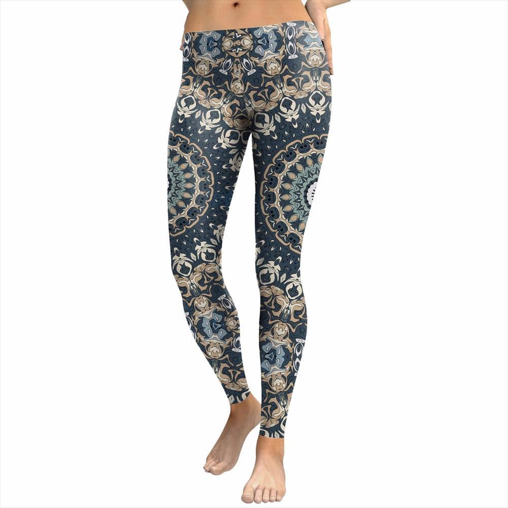 Yeni marka Renkli Baskılı Kadınlar Tozluklar Spor Legging Seksi Egzersiz Pantolon Mujer İnce Pantolon Mandala Çiçek deseni S XL