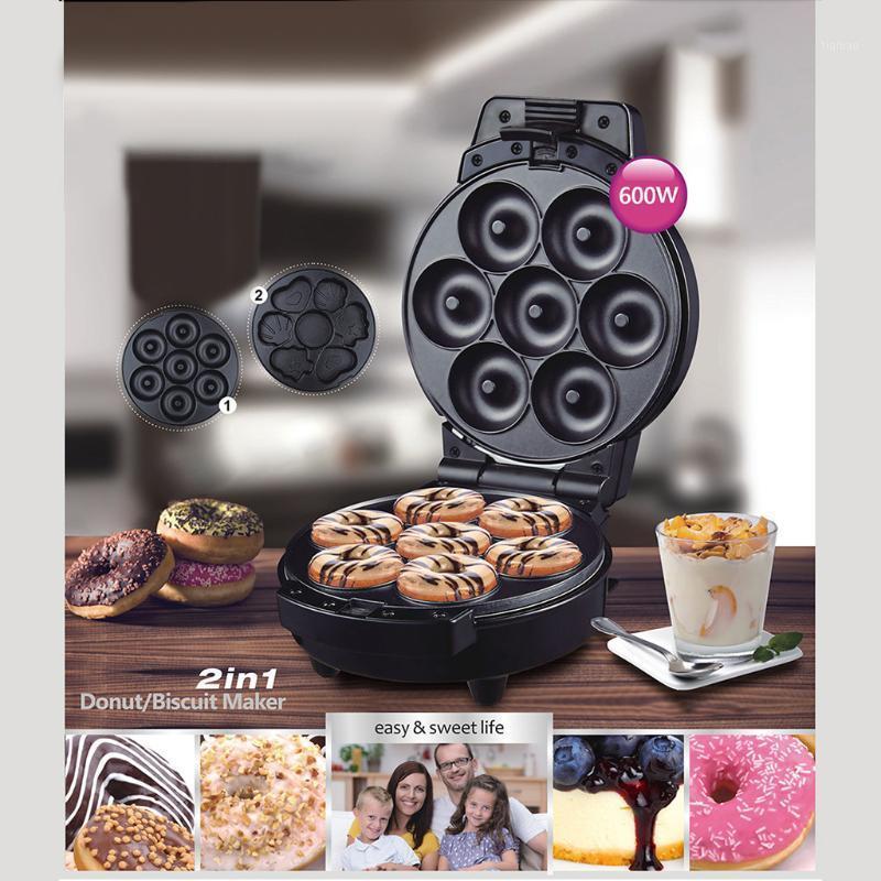 600 W Elektrikli Çörek Makinesi Makinesi Kek Waffle Makineleri Yapışmaz Yüzey 7 Donuts Makinesi Mini Donuts Makineleri # GB401