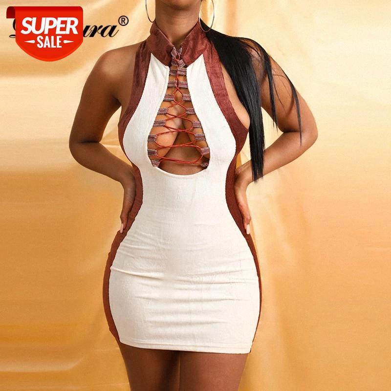 Dulzura Kadife Kadınlar Kolsuz Mini Elbise Patchwork Lace Up Bandaj Çapraz Bodycon Seksi Streetwear 2020 Sonbahar Kış Kulübü # XO96