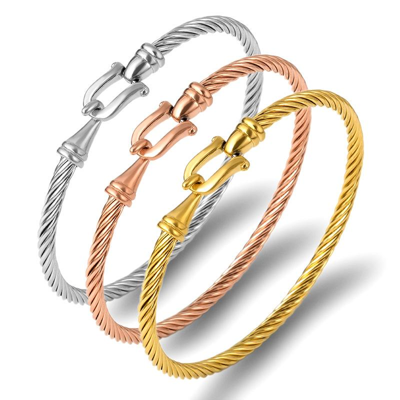 Fashion Charm Cuff Bracelets Bangles for Women Gold Color Stainless Steel Wire Thin Bangles Twisting Rope Bracelet statement Jewelry
