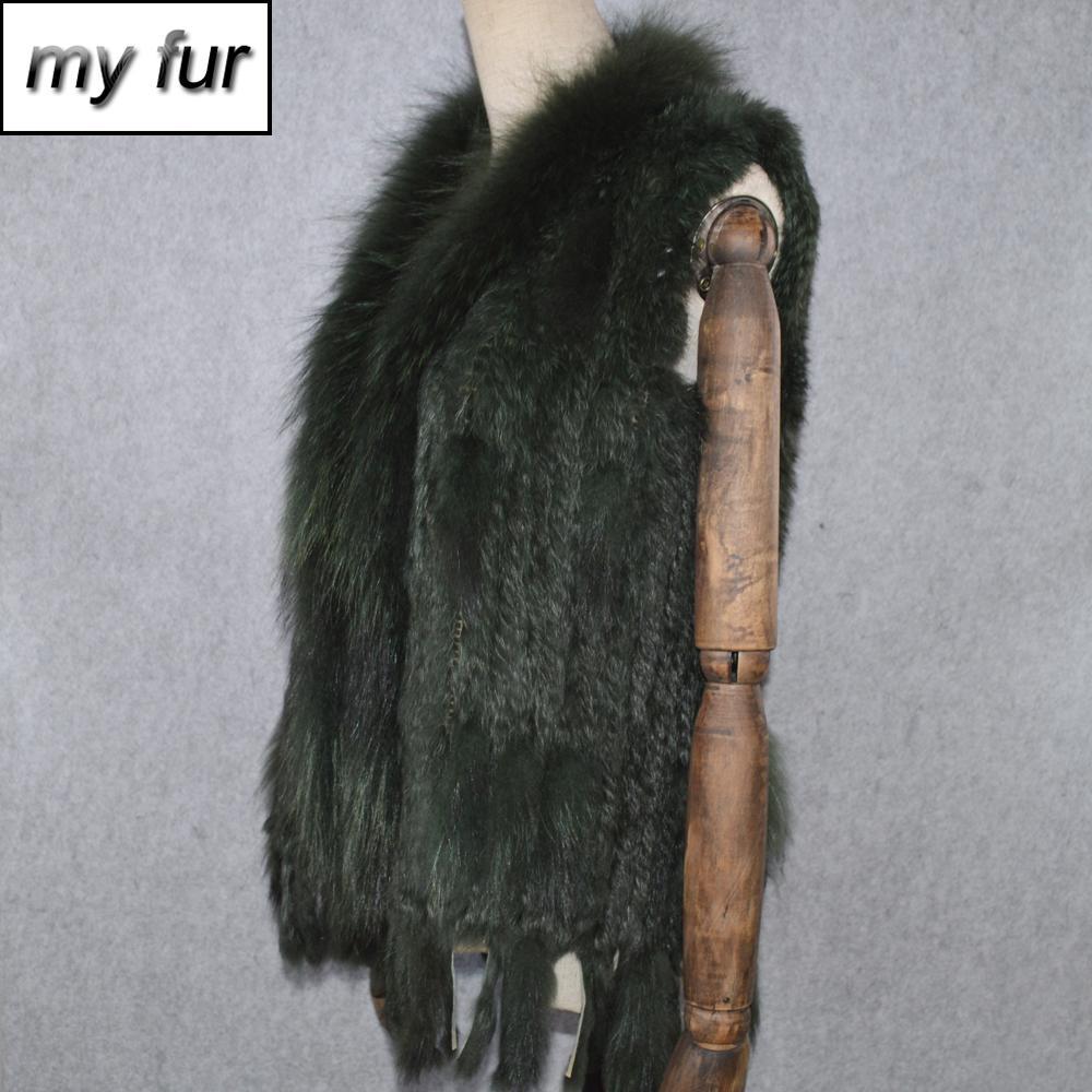 Heiße Verkaufs-Partei-Frauen realer Kaninchen-Pelz-Weste gestrickte Quasten reale echte Kaninchen-Pelz Gilet wirkliche Waschbär-Pelz-Kragen-Weste 201016