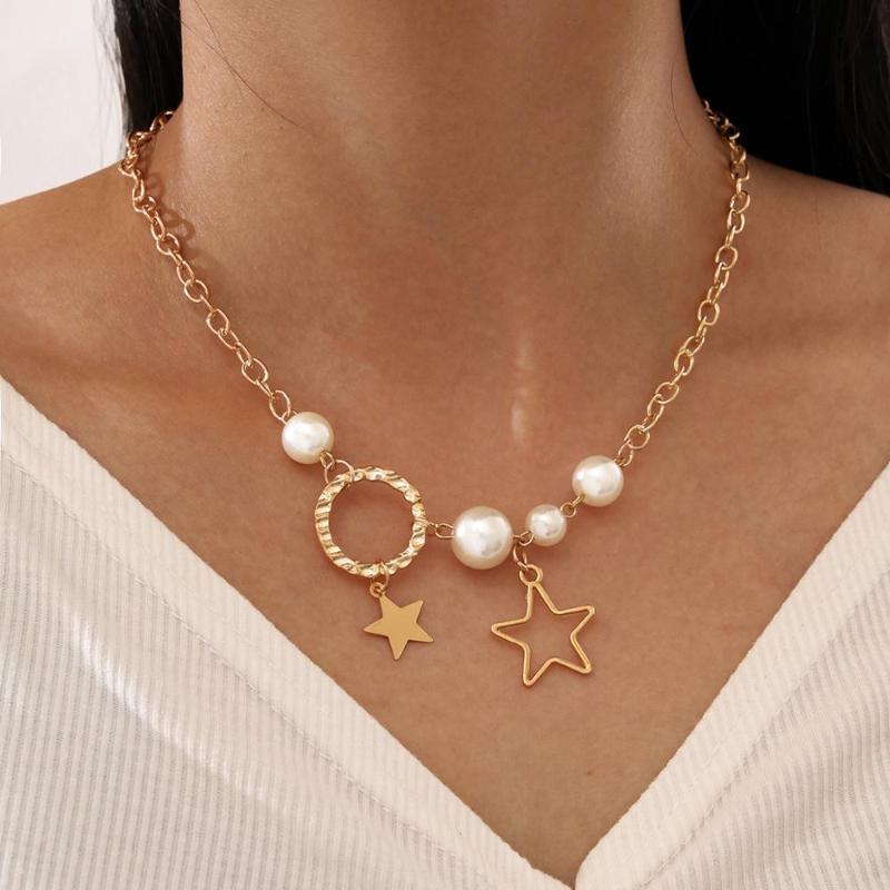 متعدد الطبقات الترقوة سلسلة تقليد اللؤلؤ قلادة قلادة للنساء بيان دائرة ستار قلادة قلادة مجموعات المجوهرات
