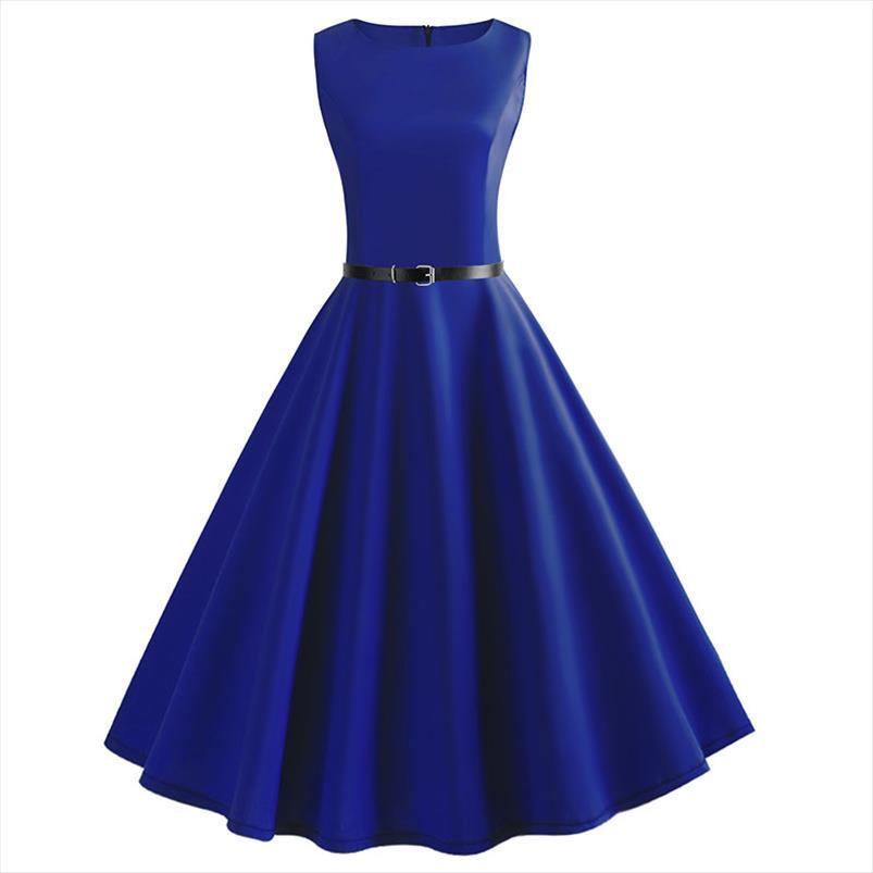 Синий Урожай Свинг платье лета женщин Dot лета вскользь Midi платья Элегантное платье Платье Туника Плюс Размер Robe Femme