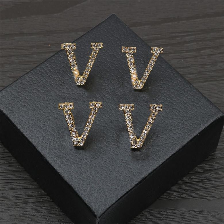Mode Lettre Diamond Collier Boucles d'oreilles Perles Designer Boucles d'oreilles Studs Femmes Ensembles de bijoux Cadeau pour l'anniversaire de fête