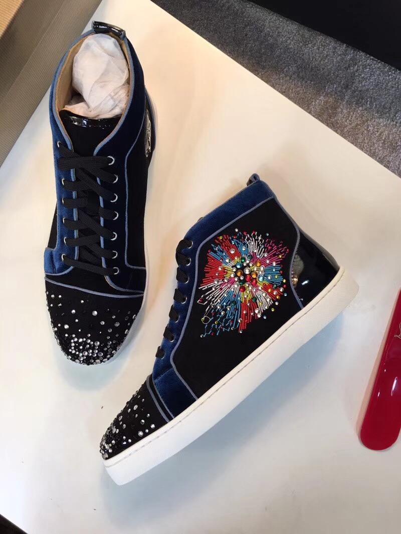 Дешевые Лучший тапки !! High Top Black ЯРКИИ Мужской дизайнерского Red Bottom Shoes Лучших качеств Мужчины Повседневная Fla Открытых Мужская обувь высокого Top