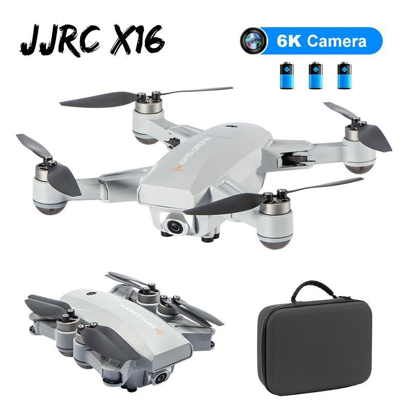 / Bag w JJRC X16 5G WiFi HD Kamera Katlanabilir FPV Çift GPS 6K Optik Akış Konumlandırma Fırçasız RC FPV Yarışı Drone Quadcopter RTF