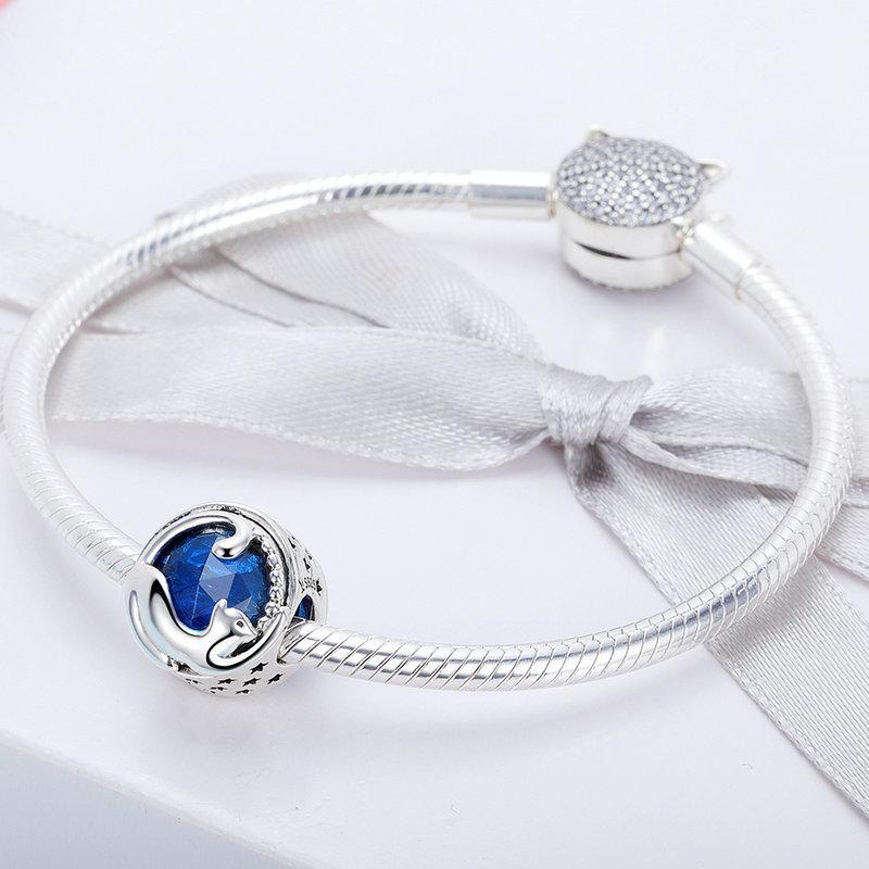 Codemonkey prata esterlina 925 do gatinho do gato azuis CZ perla o encanto caber Design original Pulseira Pulseira DIY Jóias Fazendo C708