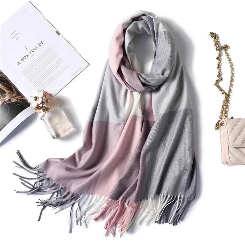 chaud foulard d'hiver pour foulards en cachemire à carreaux mode dame femmes et châles pashmina enveloppe le cou de haute qualité épaisse bandana 201019