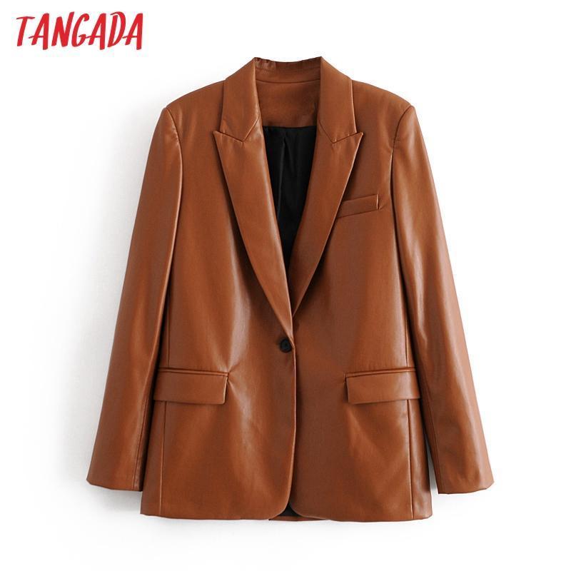 Tangada Frauen 2020 Art und Weise braune Kunstleder-Blazer-Mantel-Weinlese-Langarm Weibliche Oberbekleidung schicke Tops QN74