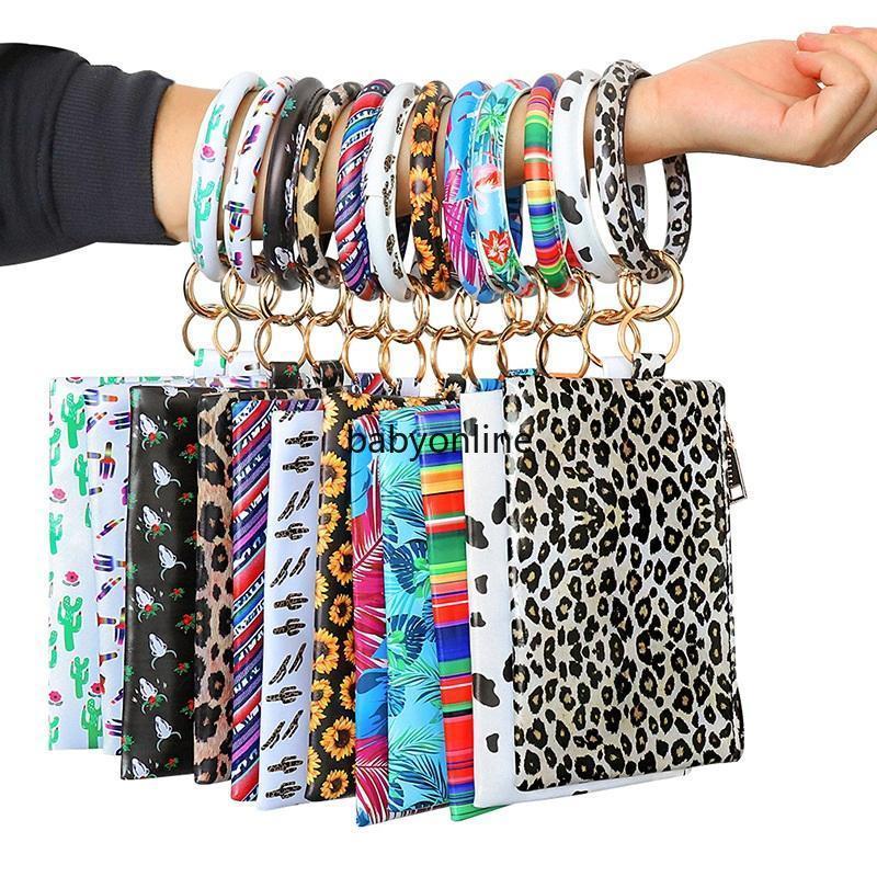 Moda Leopard Printed PU Tassel Pingente de senhoras do bracelete de couro Keychain Pulseira Carteira Mobile Phone presente do Natal Bolsa